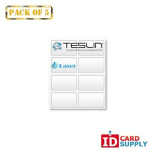 Teslin Synthetic Paper 8 5 X 11 Perforated 8 up Laser Sheet Pack Of 5