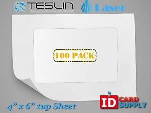 Teslin Synthetic Paper 4 X 6 Perforated 1 up Laser Sheet Pack Of 100