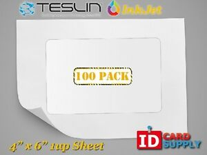 Teslin Synthetic Paper 4 X 6 Perforated 1 up Inkjet Sheet Pack Of 100
