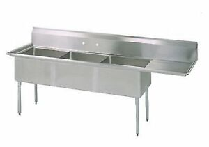 Stainless Steel 3 Compartment Sink 74 5 X 24 With Right Drainboard