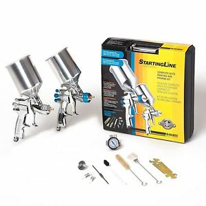 Hvlp Beginner 2 Spray Paint Gun Auto Car Vehicle Painting Priming System Kit