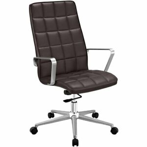 Modway Tile High Back Faux Leather Swivel Office Chair In Brown