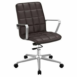 Modway Tile Faux Leather Swivel Office Chair In Brown
