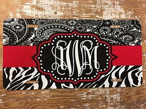 Personalized Zebra And Paisley License Plate Car Tag Name Custom New Pick Colors