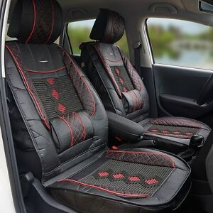 1x Universal Leather ice Silk Car Seat Cover Cushion Back Support Waist Massage