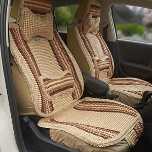 1pc Summer Cooling Auto Car Seat Cover Cushion Back Support Waist Massage Beige