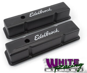 Sbc Edelbrock Signature Series Black Valve Covers Edl 4643