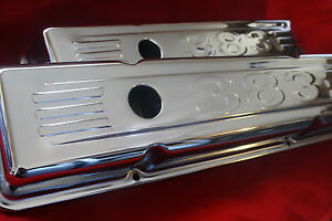 New Chrome Valve Covers For 1958 86 Small Block Chevy Short 383 Logo Baffled