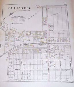 Village Of Telford Montgomery County Pa 1893 Rare Antique Color Map