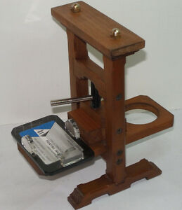 Vintage Wooden Screw Printing Press Business Card Holder 8 1 2 Tall Unique
