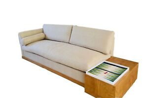 Mid Century Modern Wood And Beige Linen Sofa Sofa New Designed By G U