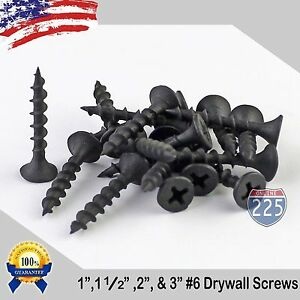 6 Black Drywall Coarse Thread Screws 1 1 1 2 2 3 Phillips Bugle head
