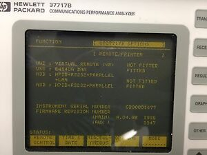 Hp agilent_37717b Communications Performance Analyzer Options A3d And Uss