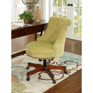 Linon Sinclair Wood Upholstered Office Chair In Green