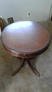 Antique Round Top Leather Mahogany Table