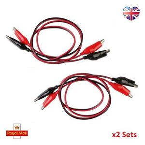 2x Alligator Crocodile Croc Clip Test Leads 1m Terminating Cable Wire Black red