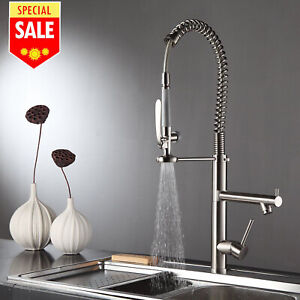 28 Commercial Pre rinse Kitchen Sink Faucet Pull Down Sprayer Brushed Nickel