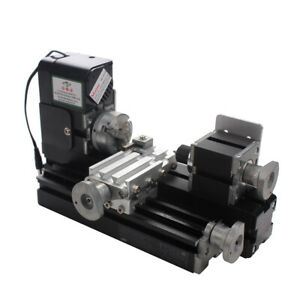 24w Mini Metal Motorized Lathe Machine Woodworking Diy Power Tool Model Making