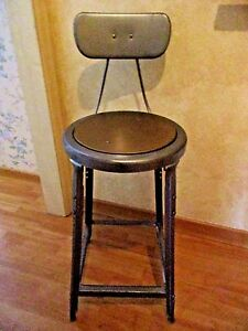 Vintage 1930s Metal Wood Stool W Back Counter Bar Shabby Hammered Pewter Look