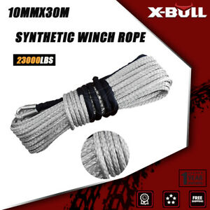 X bull Winch Rope 2 5 x100ft 23000lbs Synthetic Recovery Cable Line Grey 4wd Atv