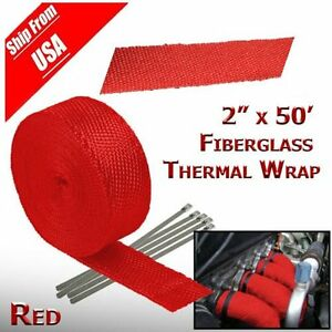 2 50ft Roll Red Fiberglass Exhaust Header Pipe Heat Wrap Tape 6 Ties Kit Vp