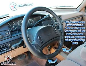 1992 1997 Ford F150 F250 F350 Replacement Leather Steering Wheel Cover Black