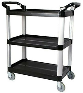 Utility Service Cart 3 Shelf Black