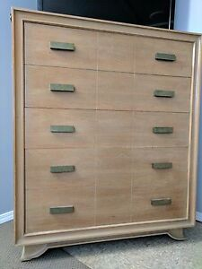 Blonde Chest Of Drawers Dresser 5 Drawers Mid Century