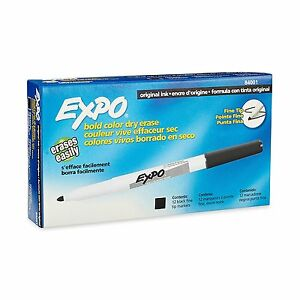 Expo Original Fine Tip Dry Erase Black Markers 84001 Case Of 12 Dozen 144 Total