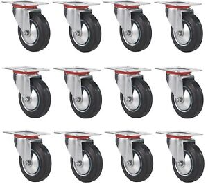 12 Pack Swivel Caster Wheels 3 Rubber Base With Top Plate Bearing Heavy Duty