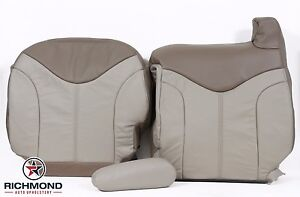 2002 Gmc Sierra Denali Quad driver Side Complete Leather Seat Covers 2 tone Tan