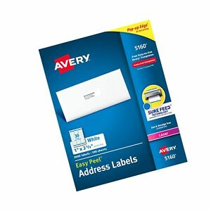 Avery Easy Peel Address Labels For Laser Printer 1 X 2 5 8 White 3000 Per