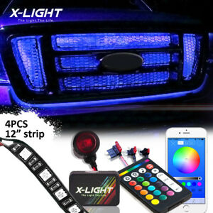 4pcs Flexible Neon Led Million Color Front Grille Light Kit Wireless Blue Tooth