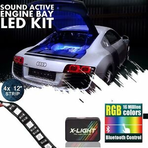X light Led Engine Bay Light Strip Kit Music Active 18 Multi color Blue Tooth