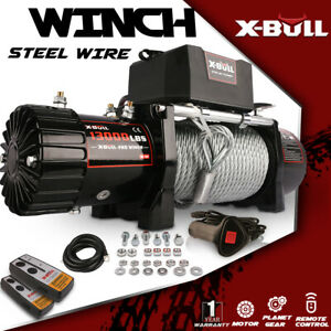 X bull 13000lbs 12v Electric Winch Recovery Winch Towing Track Steel Cable 4wd