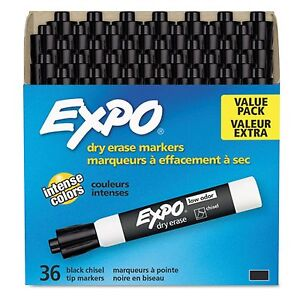 New 36pk Black Expo Low Odor Chisel Tip Dry Erase Marker Black