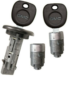 New Gmc Oem Ignition Switch Lock Cylinder 2 Door Lock Cylinder 2 Logo Keys