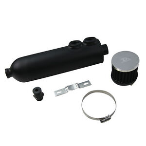 1250ml Oil Catch Can Tank Twin Inlet Breather Drain Tap Black