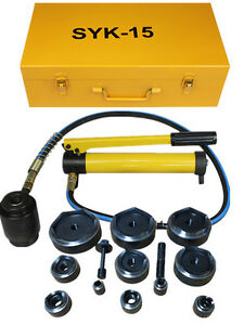 15ton Hydraulic Knockout Punch Kit Hand Pump 11 Dies Tool Hydraulic