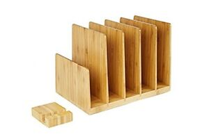 Bamboo Desk Organizer File Sorter Paper Document Rack Phone Holder Stand Office