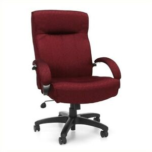 Ofm Big And Tall Executive High Back Swivel Office Chair In Burgundy