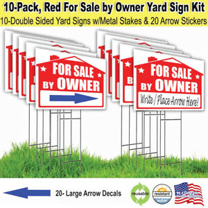 10 Pack For Sale By Owner Lawn Sign Kit