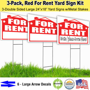 3 Pack For Rent 18x24 Yard Lawn Sign Kits