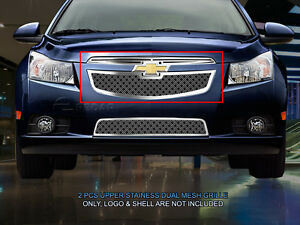 Main Upper Dual Weave Mesh Grille For Chevy Cruze 2011 2012 2013 2014
