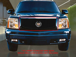 Black Main Upper Formed Mesh Grille Insert For Cadillac Escalade 2002 2006