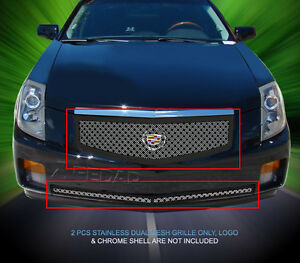 Dual Weave Mesh Grille Combo For Cadillac Cts 2003 2004 2005 2006 2007