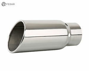 Chrome 4 Inch Inlet 5 Outlet 12 Long Rolled Angle Cut Vented Exhaust Tip Pipe