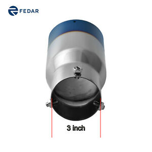 3 Inch Inlet 4 Inch Outlet 9 Long Dual Wall Rolled Flat End Exhaust Tip Pipe