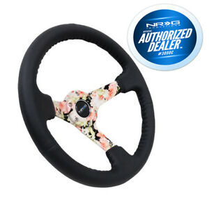 Nrg Steering Wheel 350mm Black Leather Hydro Dipped Digital Floral 3 Deep Dish