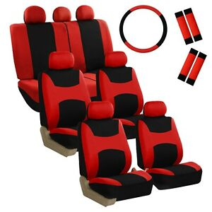 7seater Red Black 3 Row Fabric Seat Covers W 1steering Wheel 4seat Belt Pads